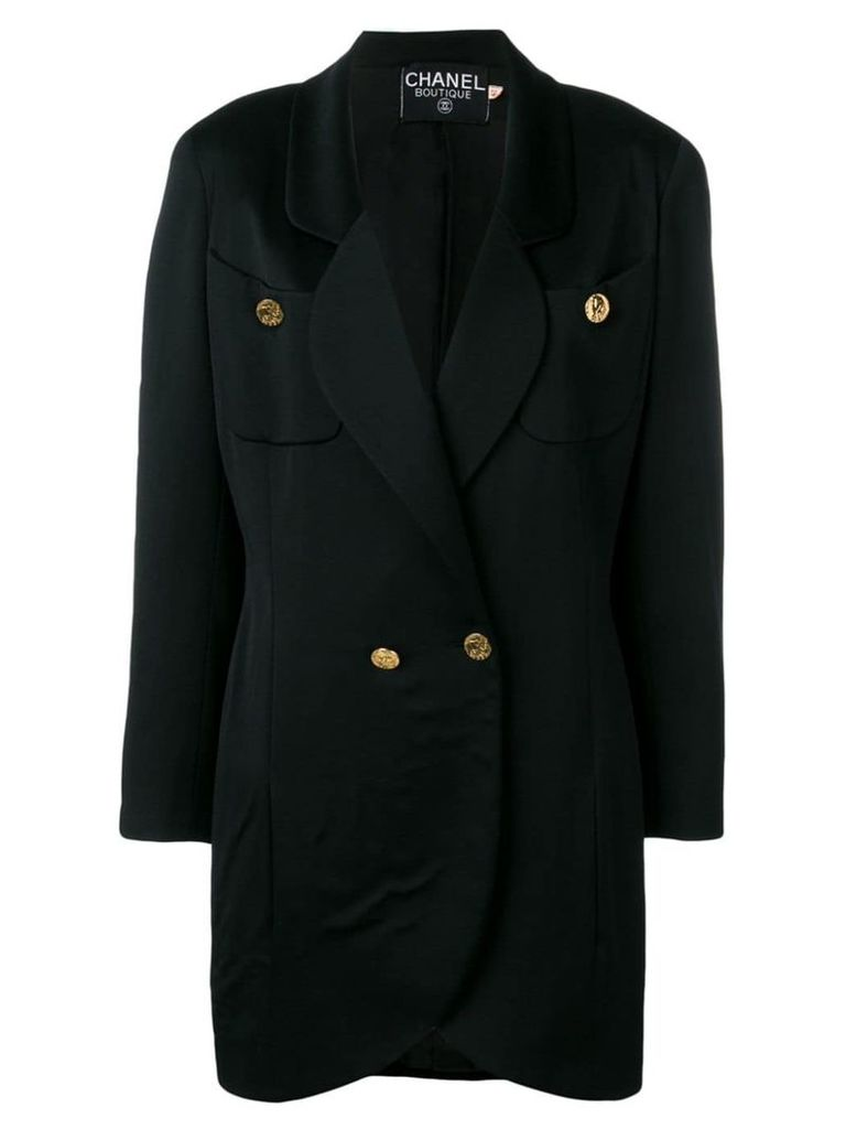 Chanel Vintage 1980's elongated blazer coat - Black