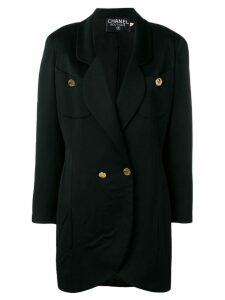 Chanel Pre-Owned 1980's elongated blazer coat - Black