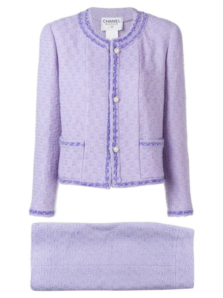 Chanel Vintage 1998's jacquard skirt suit - Purple