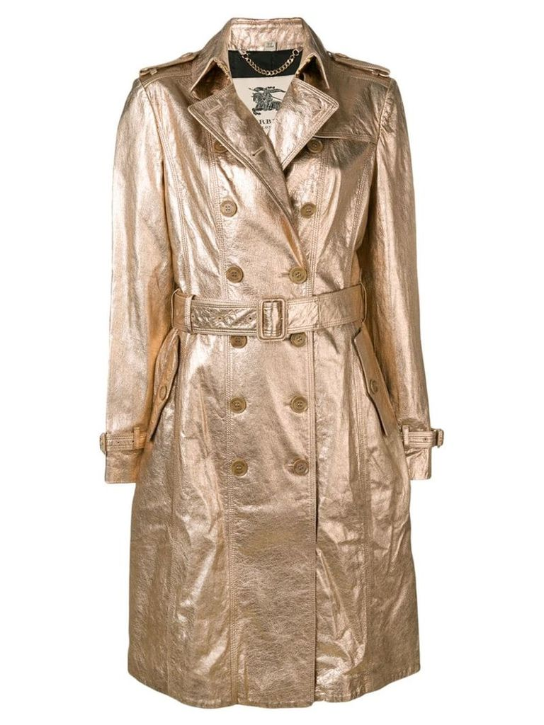 Burberry Vintage 1990's double-breasted metallic coat - Gold