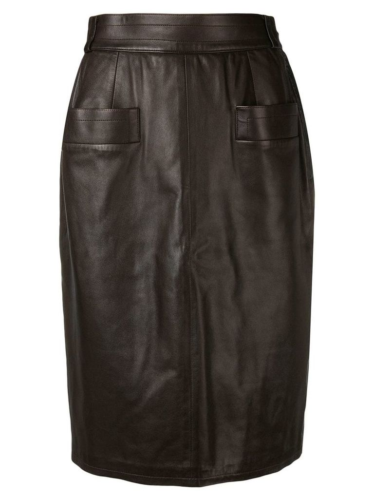 Yves Saint Laurent Vintage 1970's leather pencil skirt - Brown