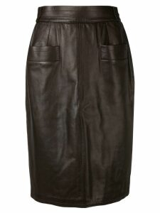 YVES SAINT LAURENT PRE-OWNED 1970's leather pencil skirt - Brown