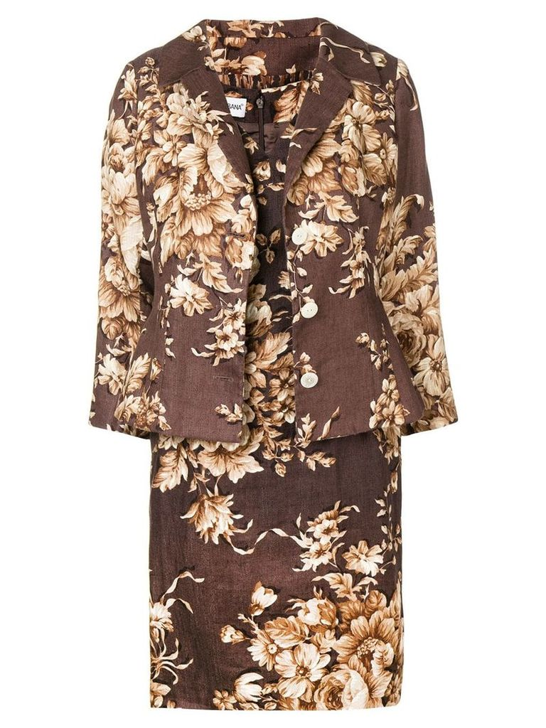 Dolce & Gabbana Vintage 2000's floral three-piece skirt suit - Brown