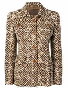 Prada Pre-Owned 1990's geometric pattern boxy jacket - Brown