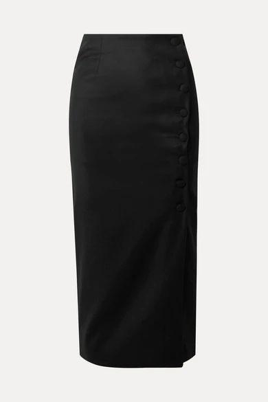 MATÉRIEL - Button-embellished Wool-crepe Midi Skirt - Black