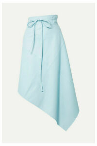we11done - Asymmetric Faux Leather Wrap Skirt - Sky blue