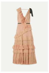 Johanna Ortiz - Grosgrain-trimmed Ruffled Plissé Silk-voile Dress - Antique rose