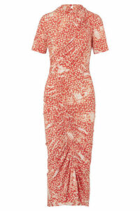 Preen by Thornton Bregazzi - Mindy Asymmetric Ruched Printed Stretch-crepe Dress - Red