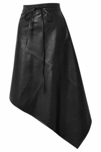 we11done - Asymmetric Faux Leather Wrap Skirt - Black
