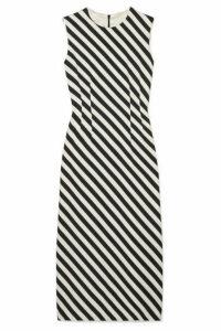 Dries Van Noten - Striped Satin Midi Dress - Black
