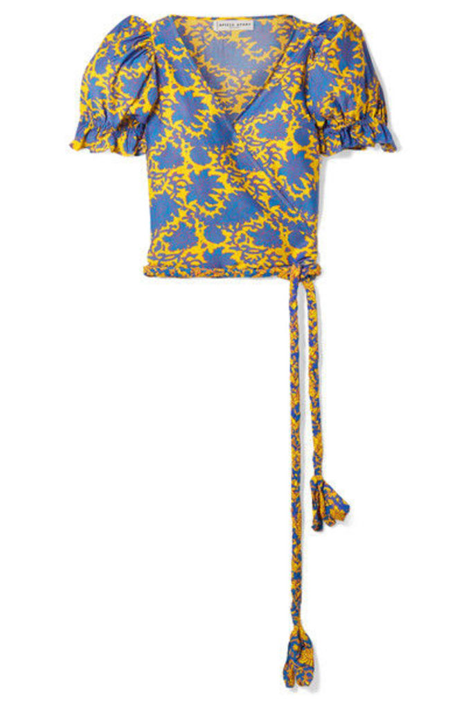 APIECE APART - Chabrol Printed Cotton And Silk-blend Voile Wrap Top - Yellow