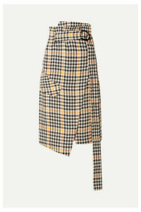 Petar Petrov - Ryan Belted Checked Linen Wrap Skirt - Yellow
