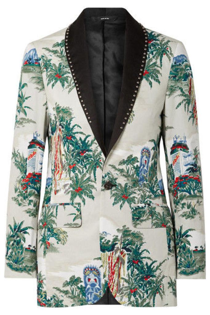 R13 - Studded Silk-trimmed Printed Cotton Blazer - Cream