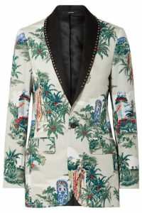R13 - Studded Silk-trimmed Printed Cotton Blazer - Cream