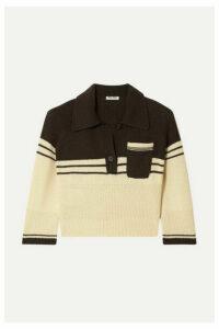 Miu Miu - Cropped Striped Cashmere Polo Shirt - Ecru