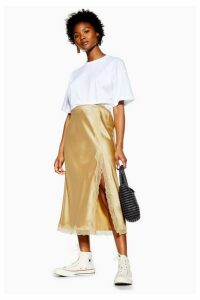 Womens Petite Gold Lace Trim Bias Satin Skirt - Gold, Gold