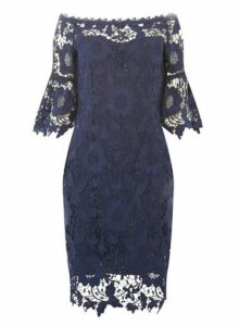 Womens **'Showcase Navy 'Milani' Bardot Bodycon Dress- Blue, Blue