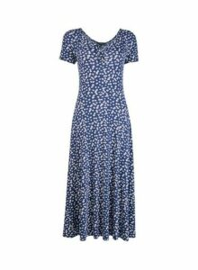 Womens Navy And White Floral Print Midi Skater Dress- Blue, Blue