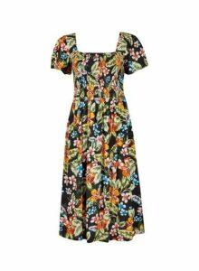 Womens Petite Black Tropical Crinkle Dress- Fl Multi, Fl Multi