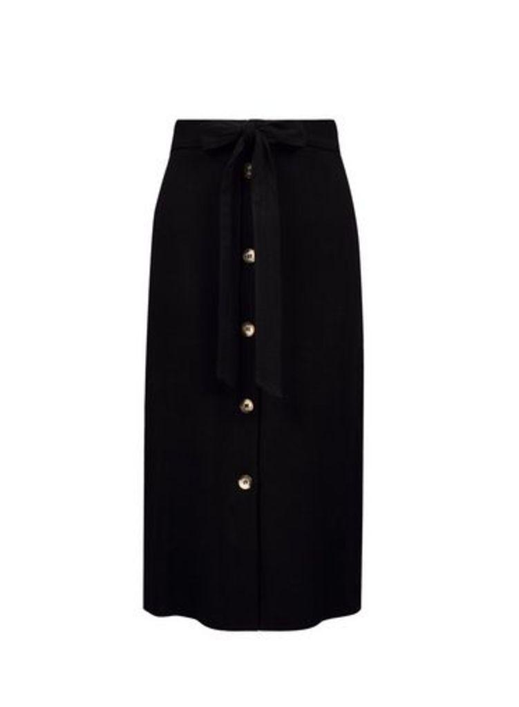 Womens Black Button Midi Skirt With Linen- Black, Black