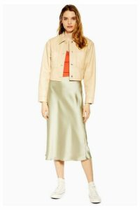 Womens Petite Sage Satin Bias Skirt - Sage, Sage