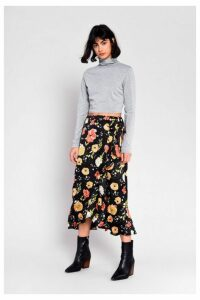 Womens **Floral Wrap Skirt By Glamorous - Black, Black