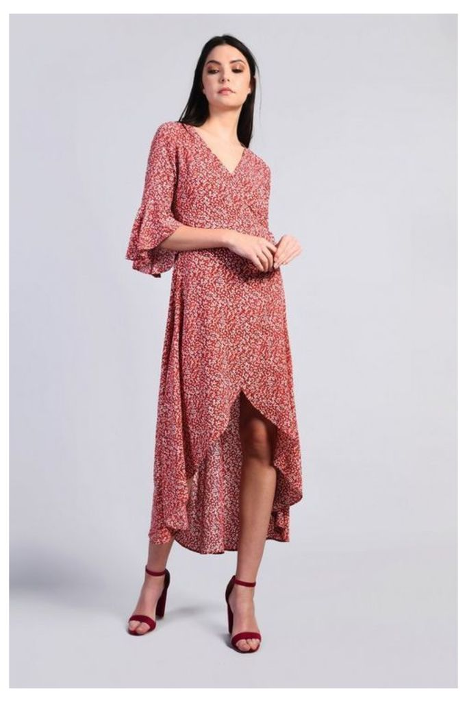 Womens **Printed Wrap Maxi Dress By Glamorous - Coral, Coral