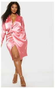 Plus Rose Satin Tortoise Button Dress, Pink