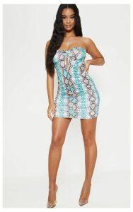 Blue Snake Print Slinky Bandeau Knot Ruched Bodycon Dress, Blue