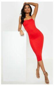 Red Strappy Midi Dress, Red
