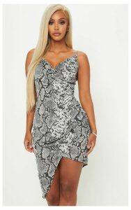 Shape Grey Snake Print Satin Wrap Dress, Grey