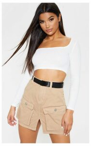 Pocket Detail Stone Denim Skirt, White
