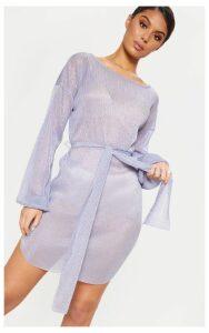 Lilac Plisse Balloon Sleeve Sheer Shift Dress, Purple