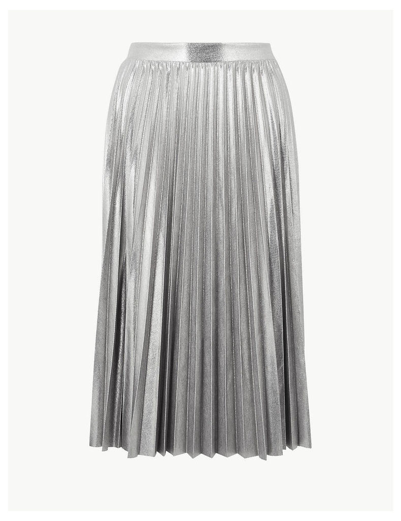 M&S Collection Metallic Jersey Pleated Skirt