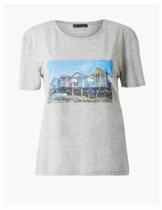M&S Collection Beach House Print Relaxed Fit T-Shirt