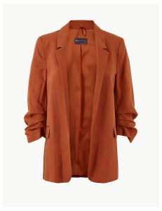 M&S Collection PETITE Linen Blend Open Front Blazer