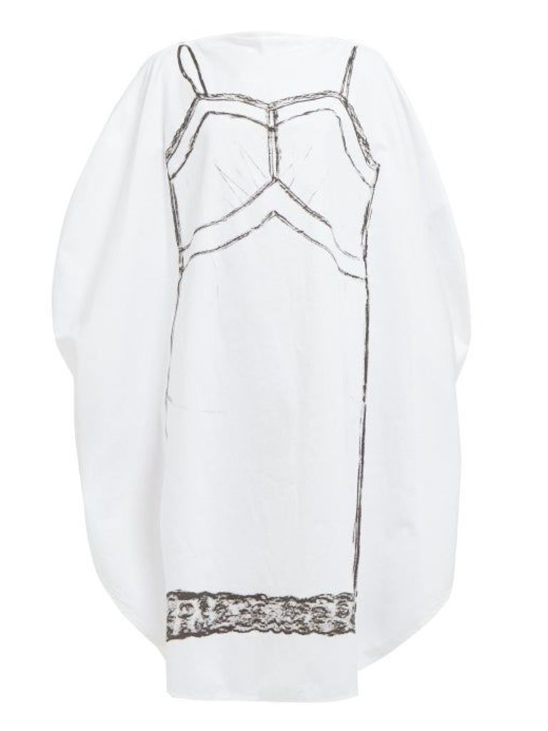Mm6 Maison Margiela - Trace Marked Print Circle Cotton Dress - Womens - White