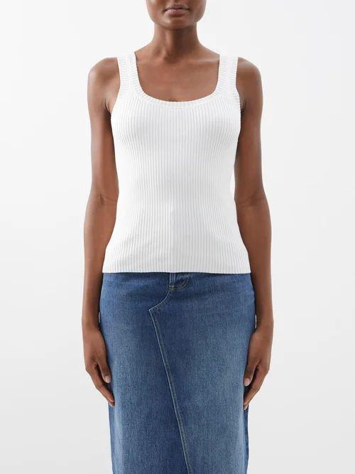 Myar - Contrast Sleeve Breton Stripe Cotton T Shirt - Womens - Red Multi