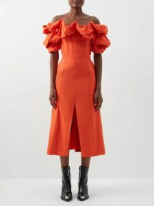 Sara Battaglia - Fringed Crystal Embellished Dress - Womens - Yellow