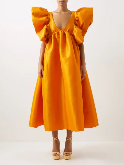 Sara Battaglia - Belted Striped Cotton Midi Dress - Womens - Orange Multi
