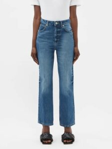 Chimala - Shadow Stripe Single Breasted Cotton Coat - Womens - Black