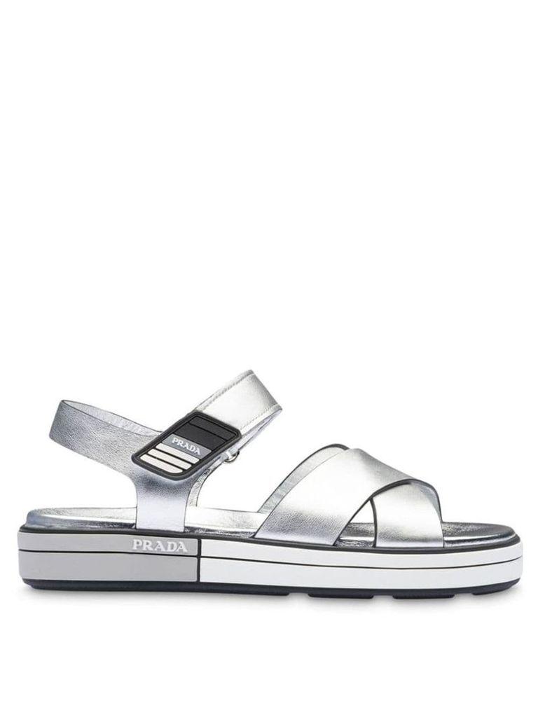 Prada metallic strappy sandals - Silver