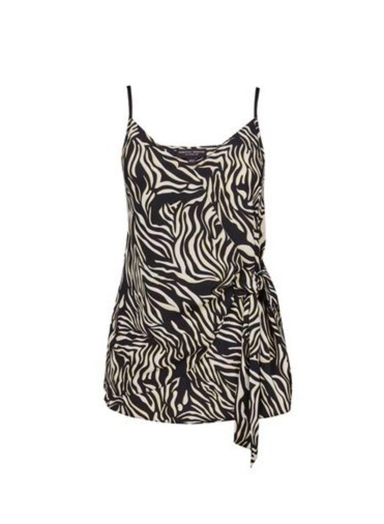 Womens Multi Colour Zebra Print Front Tie Detail Camisole Top- Black, Black