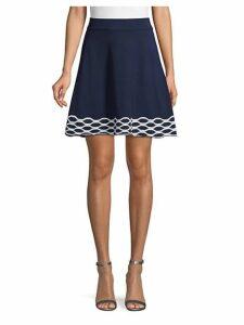 Wave-Border Flared Skirt