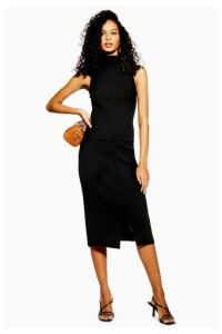 Womens Split Front Midi Skirt - Black, Black