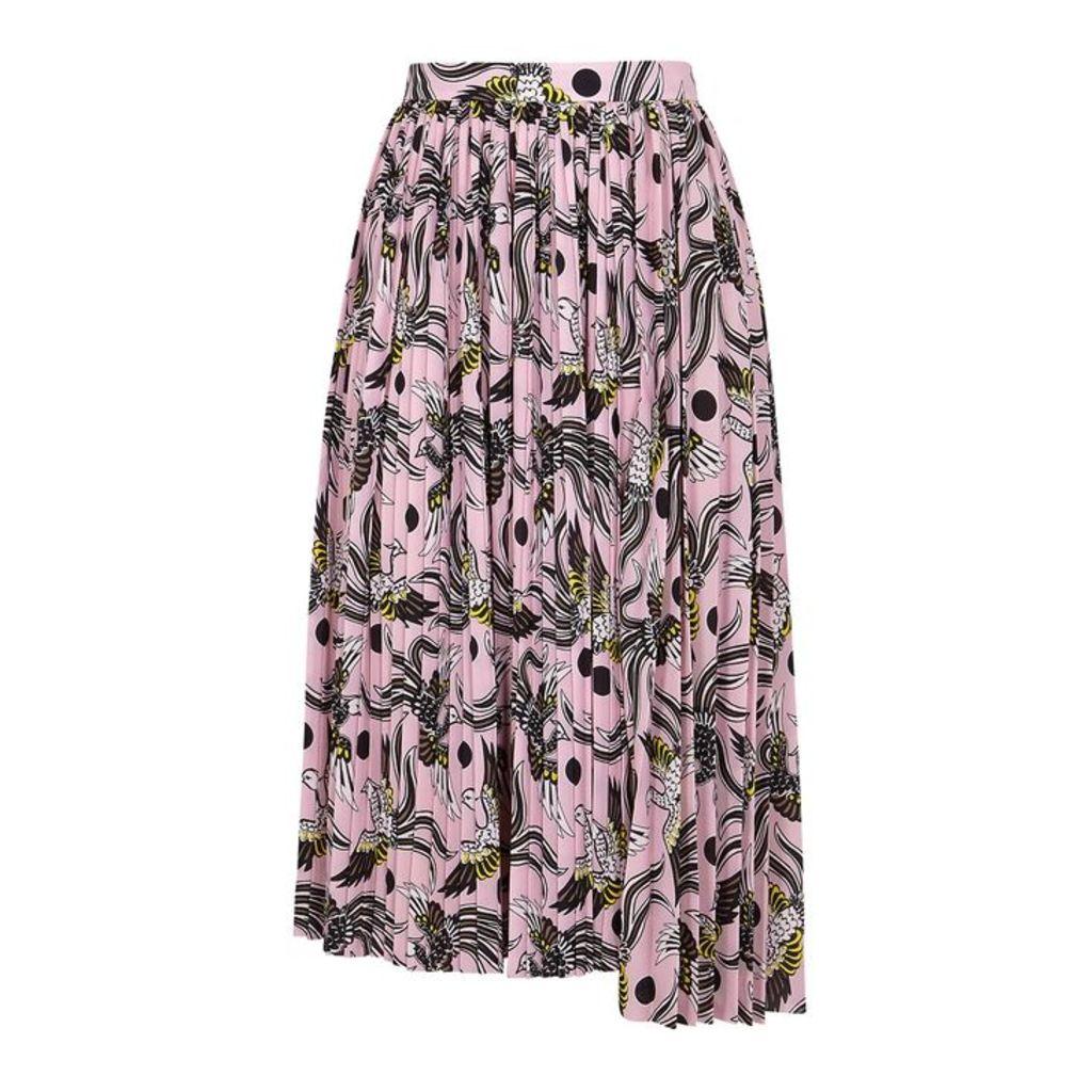 Kenzo Printed Pleated Crepe Skirt