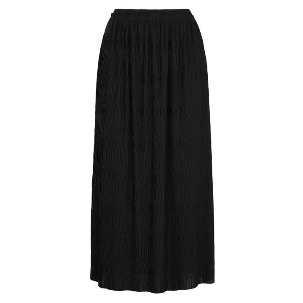 Filippa K Black Plissé Midi Skirt