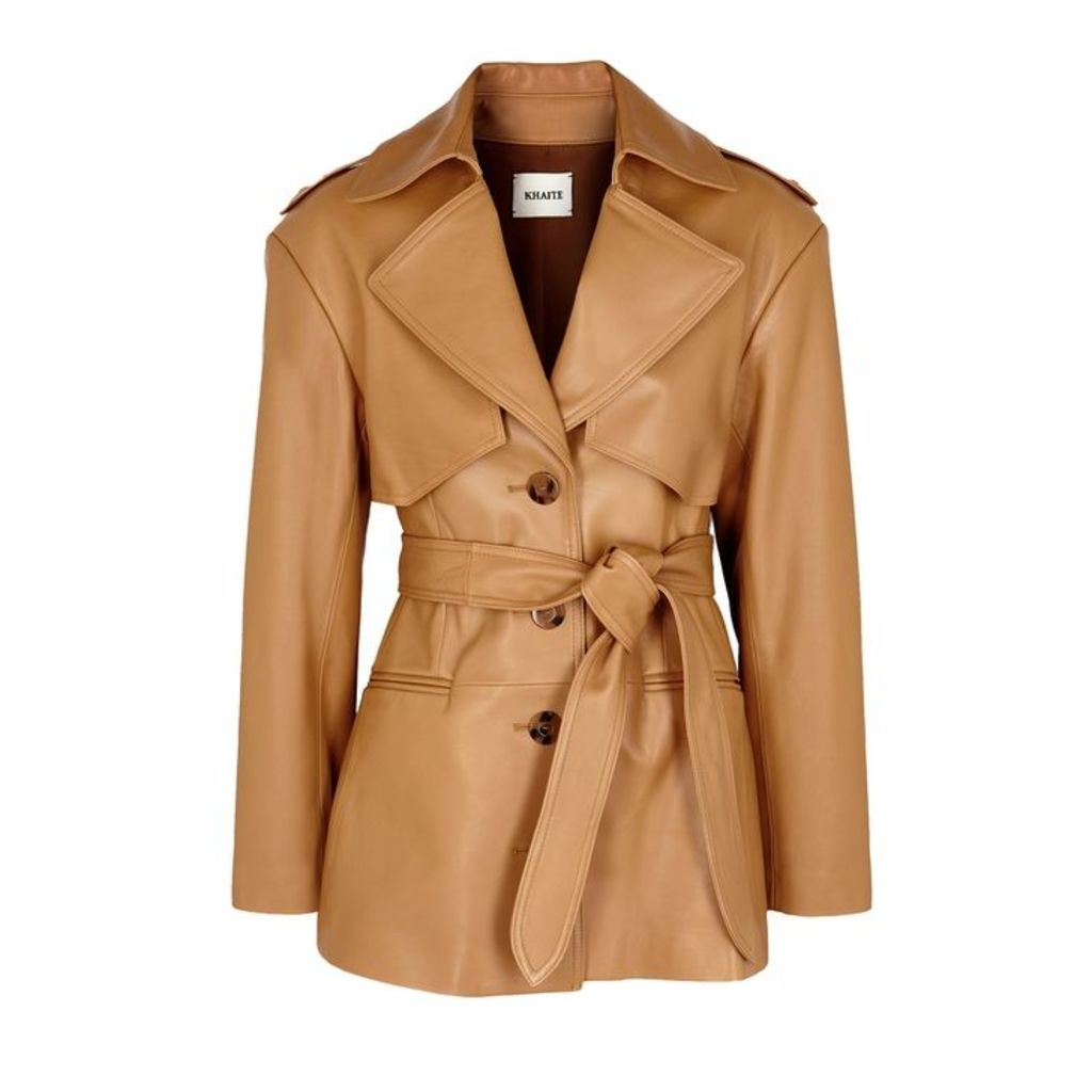 Khaite Billy Camel Leather Trench Coat