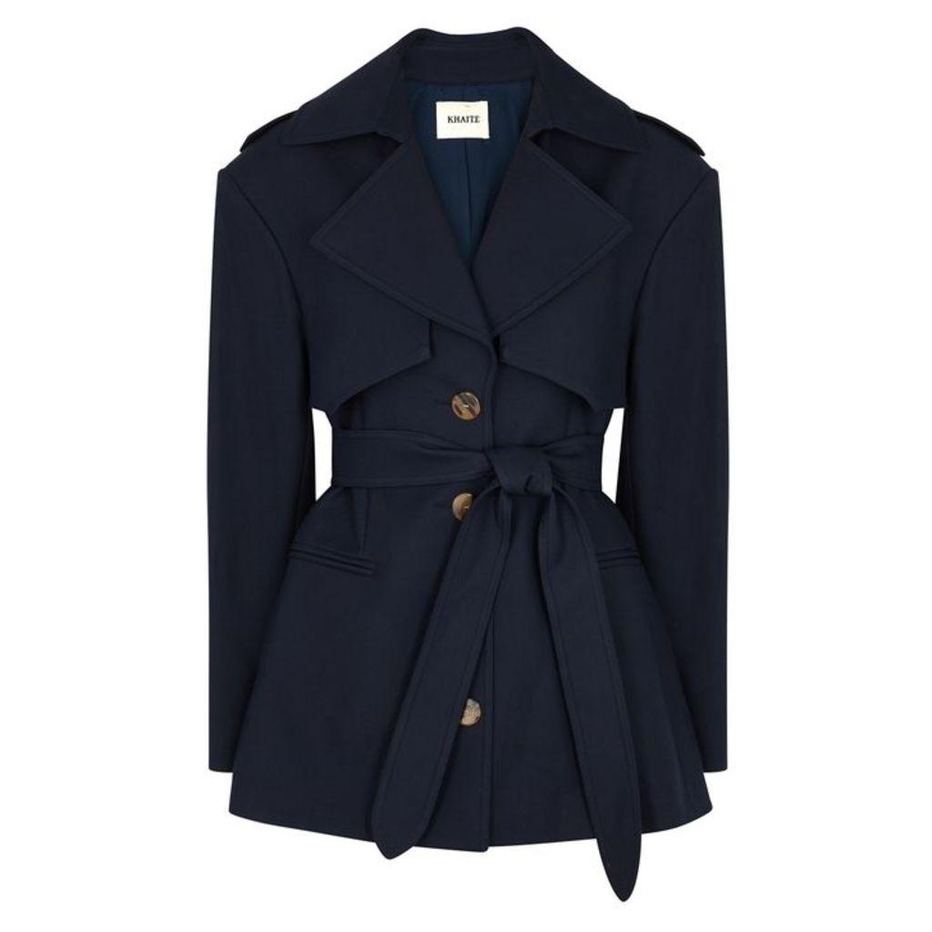 Khaite Billy Navy Cotton-twill Trench Coat
