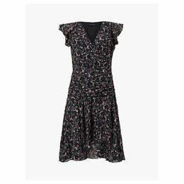 AllSaints Caris Sketch Dress, Black/Multi